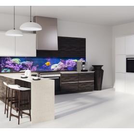 Crédence de cuisine fonds marins indigo, violet avec poisson et coraux