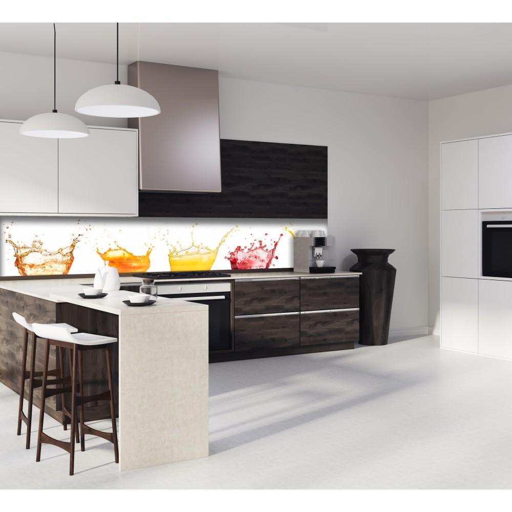 cr dence rouge jus de fruits verre et alu credence cuisine deco. Black Bedroom Furniture Sets. Home Design Ideas