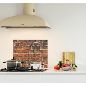 Crédence de cuisine effet mur de brique rouge orange