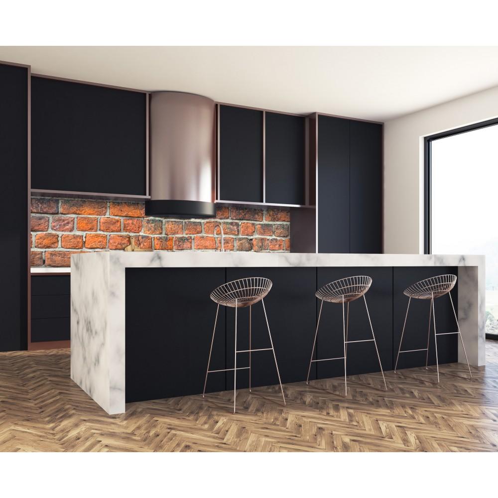 cr dence effet brique rouge verre et alu credence cuisine deco. Black Bedroom Furniture Sets. Home Design Ideas