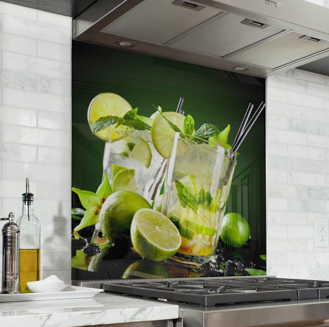 Fond de hotte cocktail citron vert verre alu credence - Plaque de protection murale pour cuisine ...