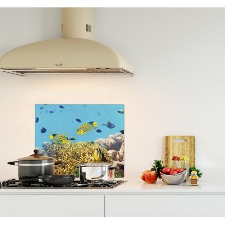 Crédence de cuisine bleu cyan fonds marins