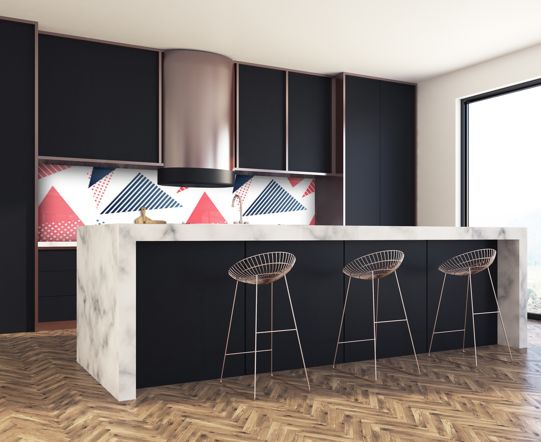 cr dence de cuisine triangles verre alu credence cuisine deco. Black Bedroom Furniture Sets. Home Design Ideas