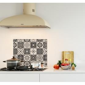 """Crédence de cuisine """"Carreaux ciments noir et blanc"""""""