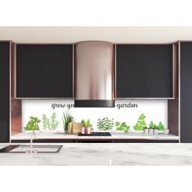 Crédence de cuisine blanche avec dessin assortiment herbes culinaires