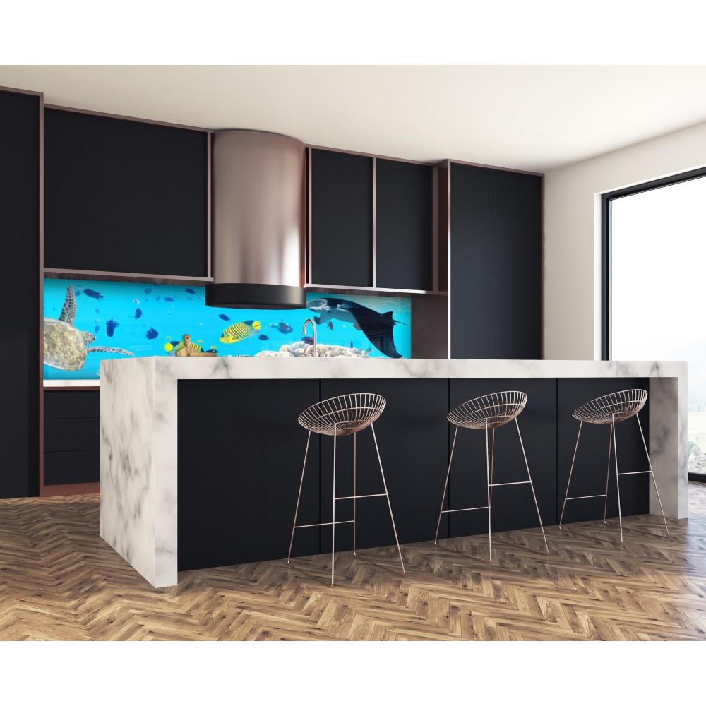 cr dence bleue fonds marins verre et alu credence cuisine deco. Black Bedroom Furniture Sets. Home Design Ideas