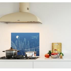 Crédence de cuisine illustration paysage urbain bleu nuit