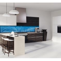 """Crédence de cuisine """"Illustration paysage urbain bleu"""""""