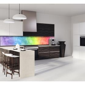 Crédence de cuisine effet aquarelle rainbow : bleu, vert, jaune, orange