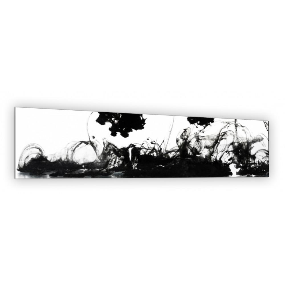 cr233dence blanche encre noire verre et alu credence