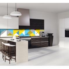 """Crédence de cuisine """"Composition géométrique bleue et jaune style scandinave"""""""