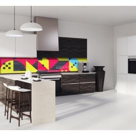 """Crédence de cuisine """"Composition géométrique rouge et jaune style scandinave"""""""