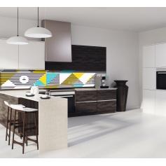 Crédence de cuisine formes géométrique rayures : cyan, jaune, blanc et noir
