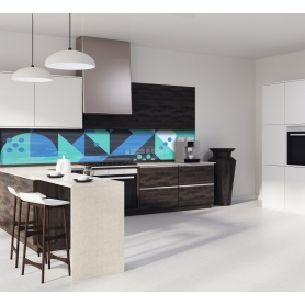 """Crédence de cuisine """"Composition géométrique verte et bleue style scandinave"""""""