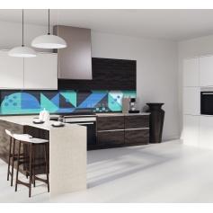 Crédence de cuisine géométrique noir, vert et bleu