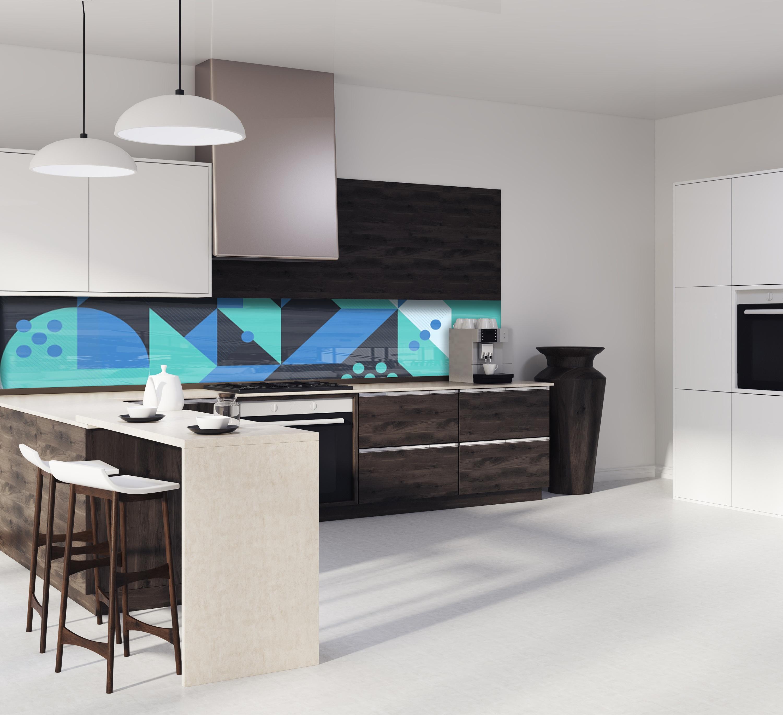 cr dence g om trique vert bleu verre et alu credence cuisine deco. Black Bedroom Furniture Sets. Home Design Ideas