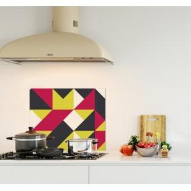 """Crédence de cuisine """"Composition géométrique jaune, rouge et noir style scandinave"""""""