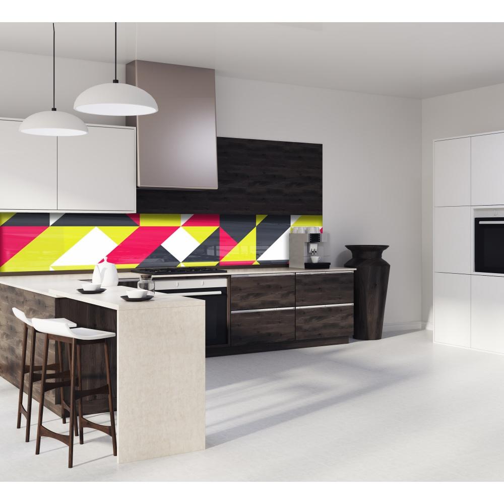 cr dence g om trique rouge jaune verre alu credence. Black Bedroom Furniture Sets. Home Design Ideas