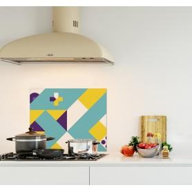 Crédence de cuisine formes géométriques jaune, turquoise et violet