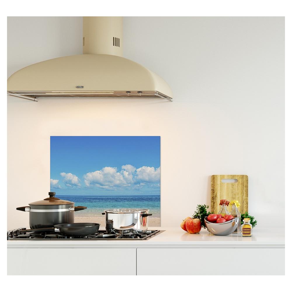 cr dence paysage plage verre et alu credence cuisine deco. Black Bedroom Furniture Sets. Home Design Ideas