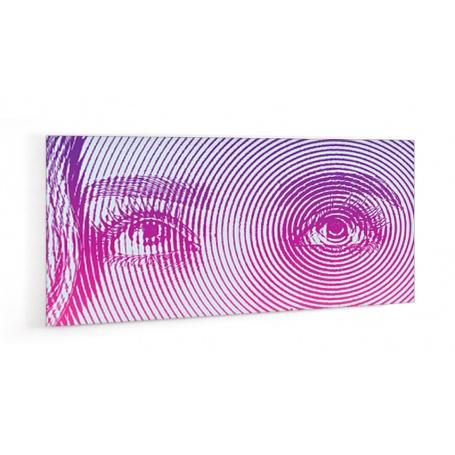 Crédence de cuisine regard femme violet et rose