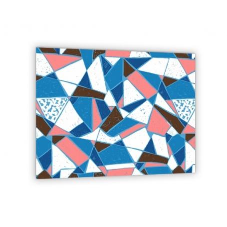 Crédence de cuisine effet carreaux de mosaïque : bleu, corail, blanc et noir