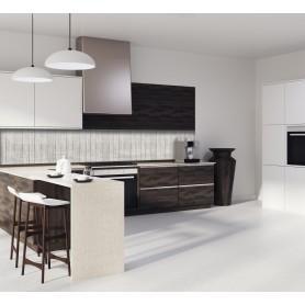 Crédence de cuisine avec effet texture bois clair