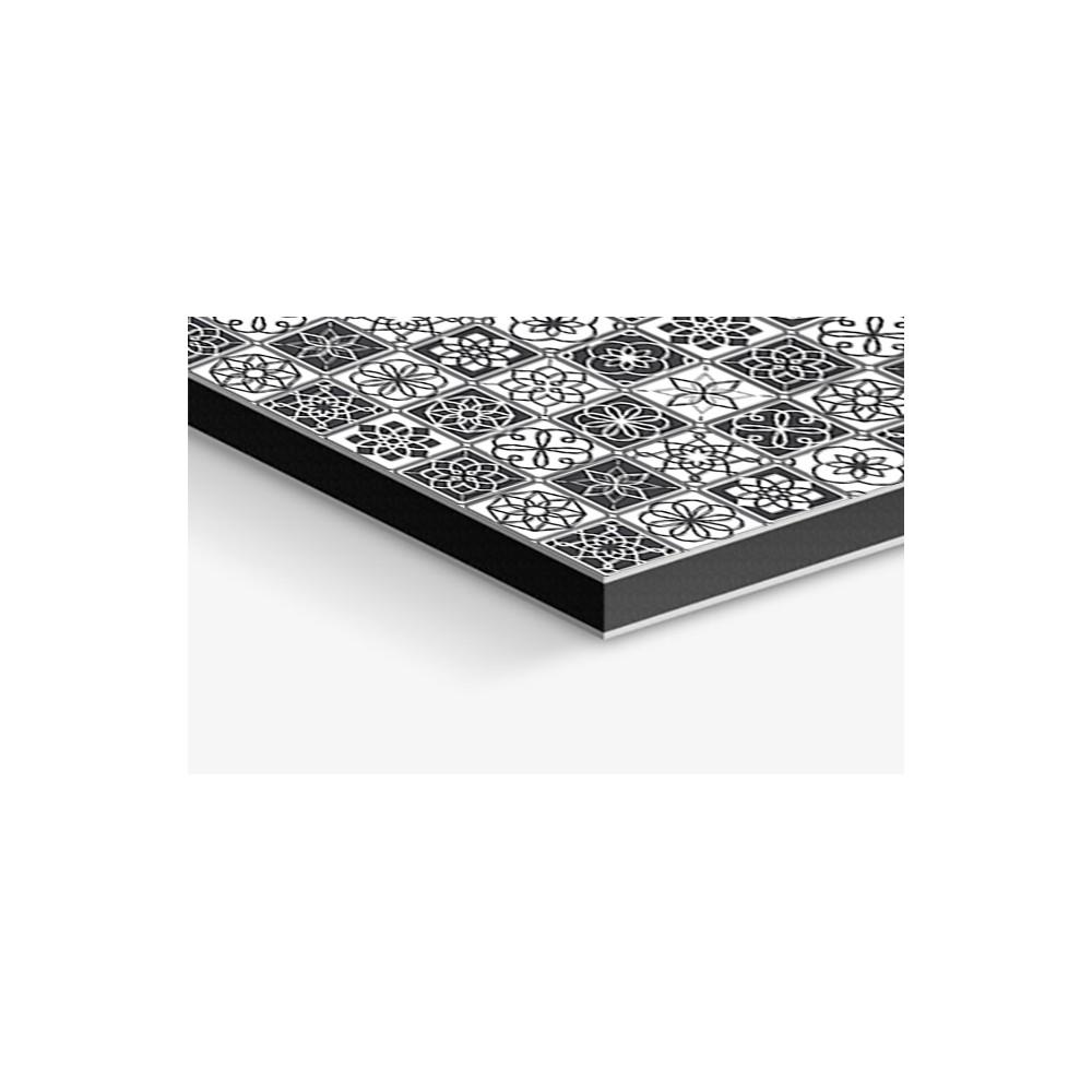 Fond de hotte carreaux de ciment noir et blanc credence cuisine deco - Carreau ciment noir et blanc ...