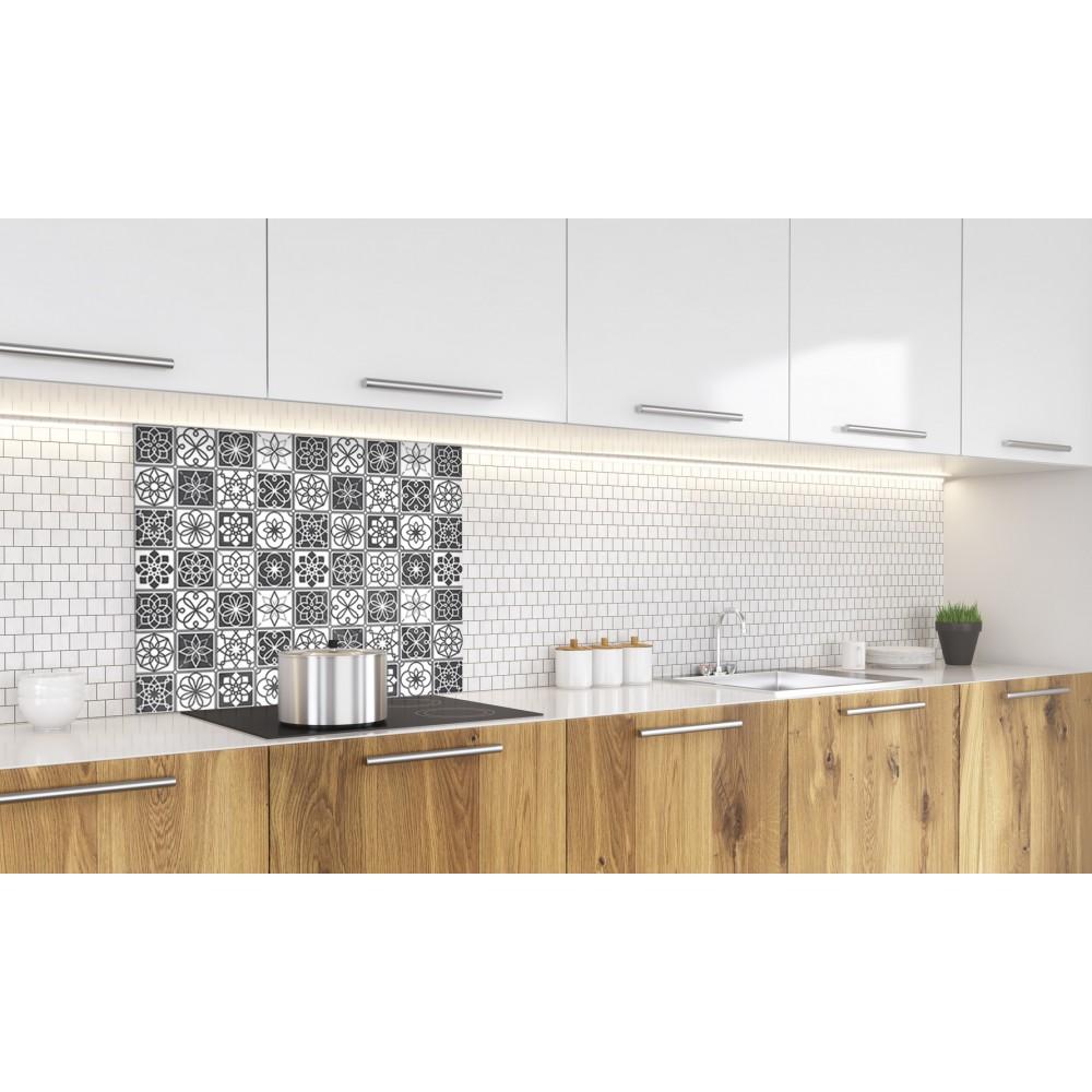 Fond de hotte carreaux de ciment noir et blanc credence cuisine deco - Carreaux de ciment noir et blanc ...