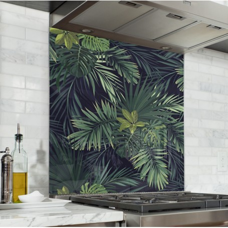 Fond De Hotte Jungle Exotique Verre Et Alu Credence Cuisine Deco