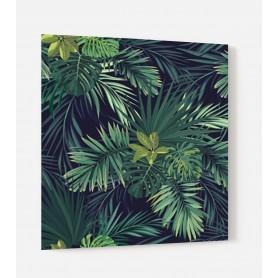 Fond de hotte noir feuilles exotiques vertes effet jungle
