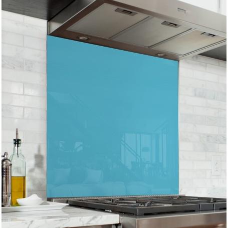 Fond de hotte Bleu Turquoise - Verre & alu - Credence Cuisine Deco