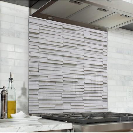 Fond de hotte effet mur briques blanches