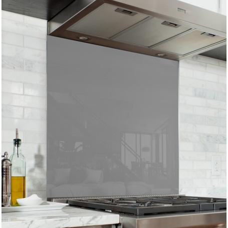 Fond de hotte Gris Galet - Verre & alu - Credence Cuisine Deco