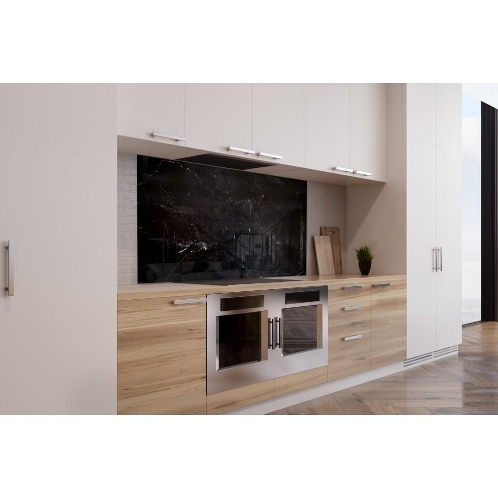 Fond de hotte effet marbre noir verre et alu credence for Hotte de cuisine noir